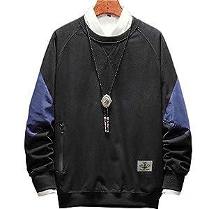 [エレガンザー]メンズ 切り替え プルパーカー カジュアル 長袖 おしゃれ トレーナー 丸首 ストリート アウトドア ゆったり (ブラック, XL)