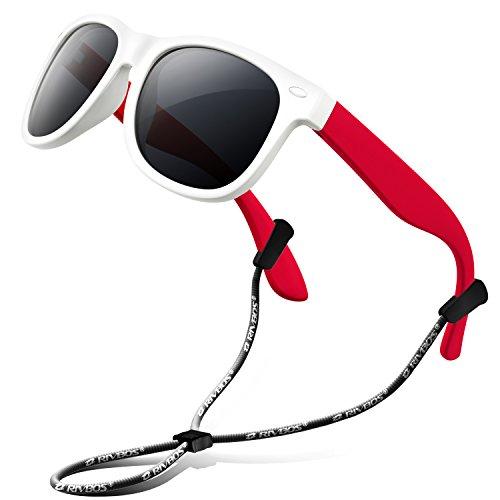 RIVBOS - Occhiali da sole polarizzati in gomma con cinturino per bambini, per ragazzi e...