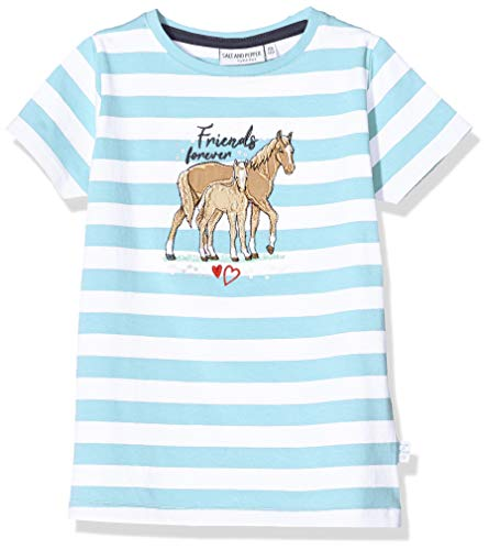 Salt & Pepper Mädchen 03112266 T-Shirt, Türkis (Curacao Blue 439), 128 (Herstellergröße: 128/134)