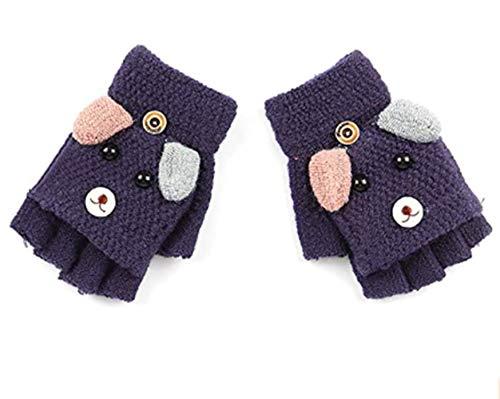 Voarge Rękawiczki z klapką, dziergane rękawiczki, rękawiczki z półpalcami, z czapką, ciepłe rękawiczki dla dzieci, 6-12 lat