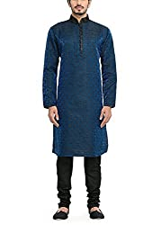 Manyavar Mens Full Sleeve Blended Kurta & Churidar Set