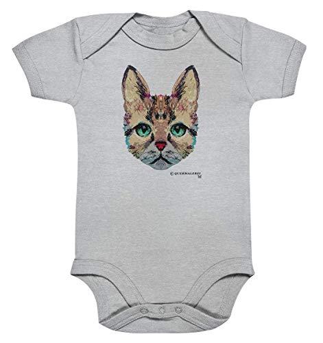 Body para bebé con estampado de gato bio, multicolor gris gris Talla:0-3