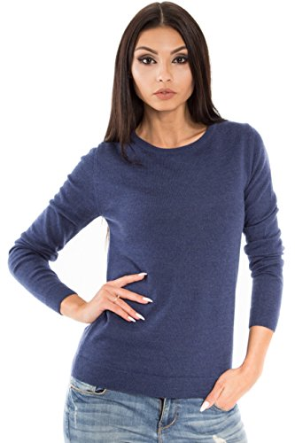 Women's Pure Merino Wool Classic Knit Top Lightweight Crew Neck Sweater Long Sleeve Pullover (Large,  Navy Melange)