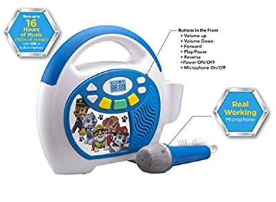 eKids Paw Patrol Bluetooth Portable MP3 Karaoke Machine Player with LED Display Store Hours of Music with Built in Memory Sing Along Using The Real Working Microphone USB Port to Expand Your Content