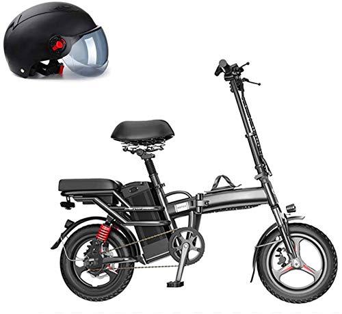 Alta velocidad E-bici eléctrica plegable Bicicleta, 14 '' bicicleta eléctrica de 48V con extraíble de iones de litio, 350W Motor, Frenos de disco doble, 3 Digital ajustable velocidad, Mango plegable,