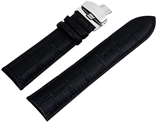 Soft Cuero Reemplazo de la correa de reloj de liberación rápida, banda de reloj 18 mm 20 mm / 22 mm / 24 mm de correa de cuero de acero inoxidable patrón de mariposa de acero inoxidable Deploymant buc