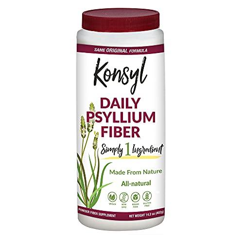 Konsyl Daily Psyllium Fiber Supplement Powder | All-Natural, Soluble, Gluten-Free & Sugar-Free | 1 Unit - 402g