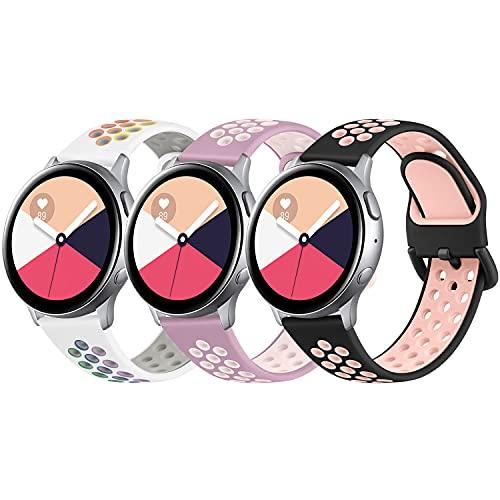 AMK 3 Stück Armband Kompatibel für Samsung Galaxy Watch Active/Active 2 40mm 44mm Armband, 20mm Weiche Silikon Ersatz Uhrenarmband für Samsung Galaxy Watch 42mm/ Galaxy Watch 3 41mm