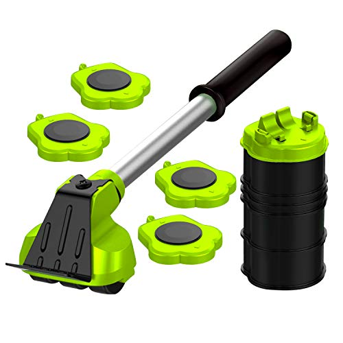 Heavy Duty Furniture Lifter with 4 Sliders for Easy and Safe Moving, Appliance Roller Suitable for Sofas, Couches and Refrigerators, Adjustable Height [Load Capacity: 660lbs Per Wheel] Green