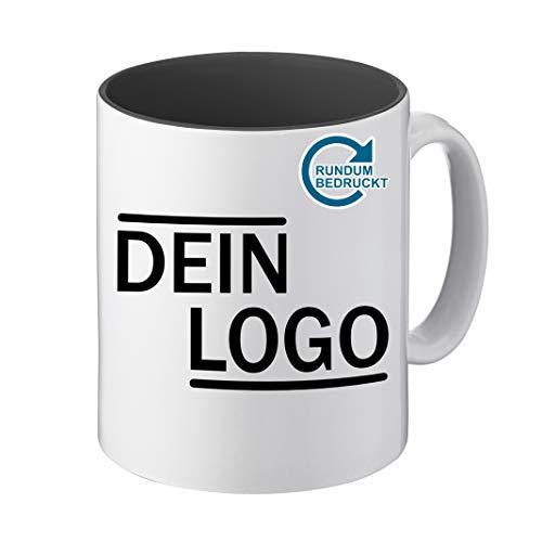 Foto Premio Werbetasse mit Logo | Kaffeetassen mit Logo Bedrucken, Tasse mit Logo in Kleiner Auflage günstig bestellen, Spülmaschinen- und Mikrowellenfest, 300ml Füllmenge (Schwarz, Panorama)