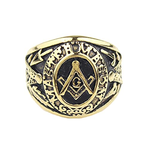 Anillo Masónico De Acero Inoxidable Mason Master Mason De Oro Freemason Para Hombre13