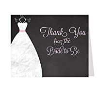 Chalkboard Gown, Bridal Shower, Blackboard, Thank You Cards, Wedding Dress, Pink, Simple Stated Thanks From the Bride to Be, Set of 50 Folding Notes with Envelopes, FREE Shipping (Pink) by The Invite Lady