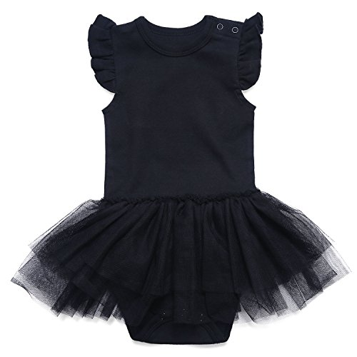 ROMPERINBOX ベビー チュールスカート ワンピース ロンパース カバーオール 女の子 スナップボタン付き 綿 黒 ドレス フォーマル 可愛い 洋服 結婚式服 出産祝い(ブラック 9-12ヶ月)