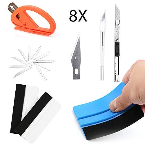 AllRight 8 TLG Rakel für Folie Auto Set mit Faserrand Rakel, Snitty Cutter, Utility Messer mit 10 STK. Ersatzklingen für Autofolie Tönungsfolie Sonnenschutzfolie Installation