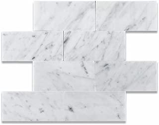 3 X 6 Bianco Carrara White Marble Honed Brick Tile - 2 pcs. Sample-Set