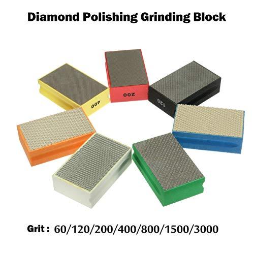 Diamantschuurblok diamantslijpblok voor het polijsten van steen, glas, tegels, beton, graniet, marmer (90 x 55 mm) 60 grains