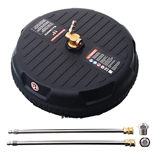 M MINGLE 15 Inch Pressure Washer Surface Cleaner, with 2 Extension Wand and 2 Replacement Nozzle, Attachment for Gas and Electric Power Washer, 3600 PSI