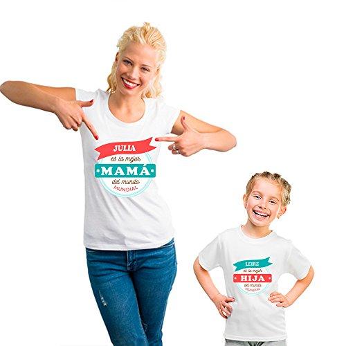 Regalo Personalizado para Madres: Pack de Camiseta para mamá + Camiseta para niño/a o Body para bebé