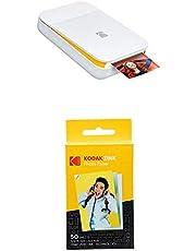 KODAK Smile Impresora Digital instantánea, Blanco/Amarillo + Paquete de 50 Hojas