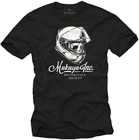 MAKAYA Camiseta Calavera con Casco Moto - Motorcycle Society - Accesorios Motocross