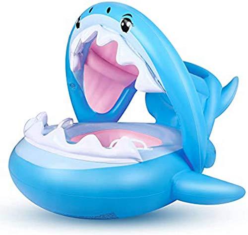 Haoshangzh55 Flotador Piscina del Bebé del Niño Floaties con Inflable Parasol Tiburón Infantil Piscina Anillo para Niños De 6-36 Meses