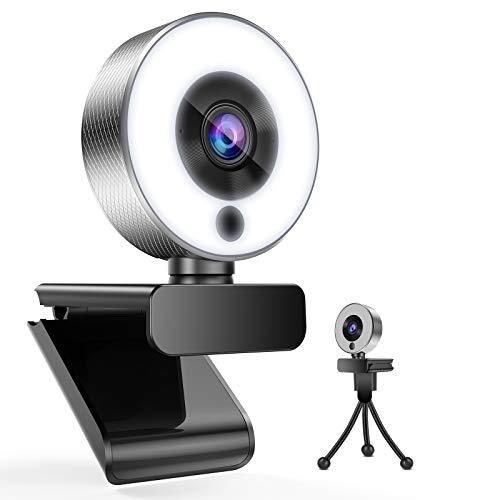 Belnk A9S - Webcam con luz de anillo, FHD 1080P con micrófono y cámara web en streaming, Plug & Play, brillo ajustable, USB, para PC, escritorio, portátil, Mac, Zoom, Skype YouTube (webcam)