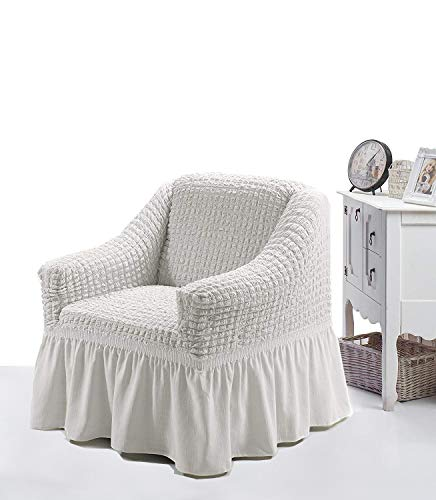 Luxus Sessel- und Sofahussen, Sessel/1-Sitzer, weiss