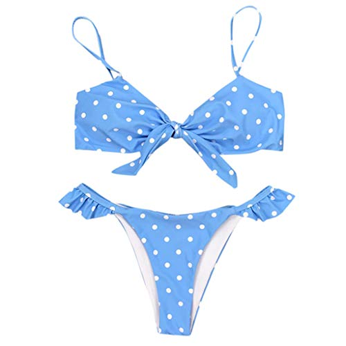 Womens Dot Print Bikini Set Bow Tummy Control Holiday Swimwear Pool Swimsuit Beach Bathings Suit for Women (Blue, L)