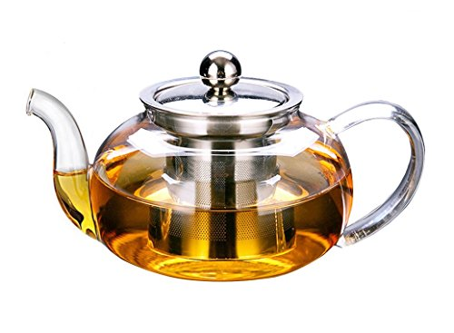 Artcome 28 Ounce Glass Tea Pot with removable Stainless Steel Infuser Stylish Borosilicate Glass Teapot