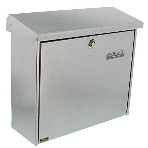 Burg-Wächter Briefkasten mit aufklappbarem Regendach, A4 Einwurf-Format, EU Norm EN 13724, Verzinkter Stahl, Comfort 913 Si, Silber