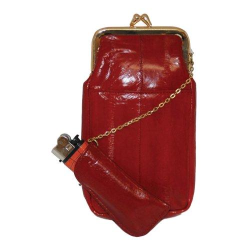 Womens Eel Skin Cigarette Lighter Holder Red Wallet