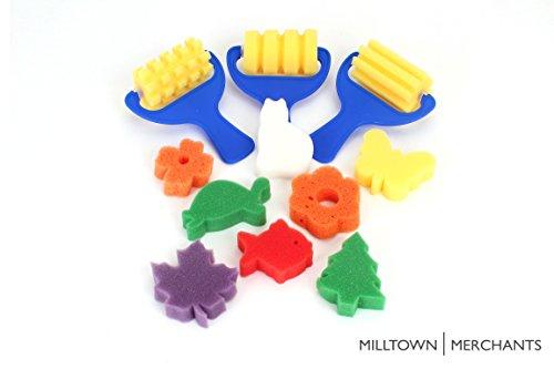 Sponge Painting Variety Pack - (3) Textured Sponge Painting Rollers - (8) Sponge Painting Shapes - Crafts for Kids - Art Sponge Assortment