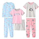 Girls' 6-Piece Snug-Fit Cotton Pajama Set Sleepwear (Penguin/Panda, 7)