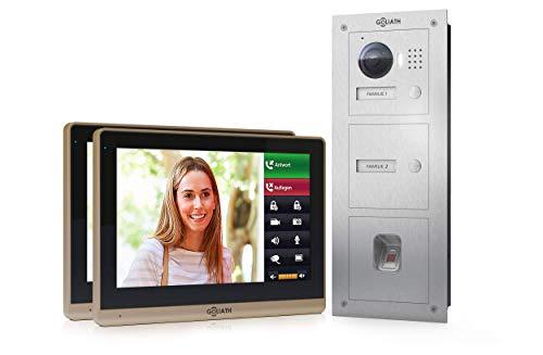 Goliath IP Video deurintercom, inbouw, HD-deurstation, roestvrij staal, app met deuropener-functie, 10,2 inch touchscreen, vingerafdruk, 2 familiehuis