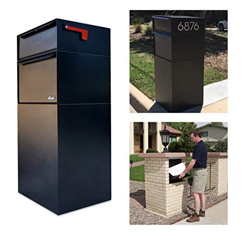 dVault Full Service Vault DVCS0015 Secure Curbside Mailbox Package Drop with Locking Letterbox (Black)