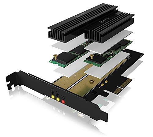 ICY BOX IB-PCI215M2-HSL PCI Express x4 Adapter Karte für 1x M.2 PCIe (NVMe) SSD M-Key & 1x M.2 SATA III (6 Gbit/s) SSD B-Key, (2242, 2260, 2280, 22110), inklusive Kühler, High + Low Profile, Schwarz