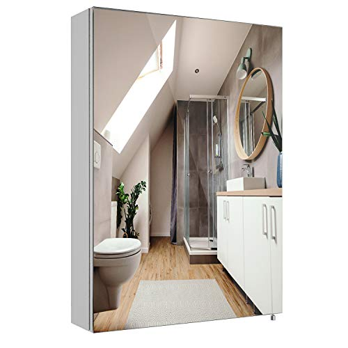 Homfa Bathroom Mirror Cabinet 275 X 20 inch Stainless Steel Storage Cabinet Medicine Cabinet with Single Door and 2 Inside Shelves Multipurpose Wall Mounted Storage Organizer