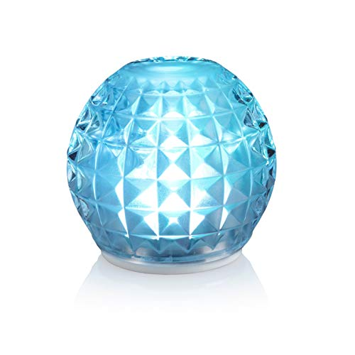 Auraglow Rechargeable Cordless Wireless Colour Changing & White Light LED Glass Table Lamp (Vogue)