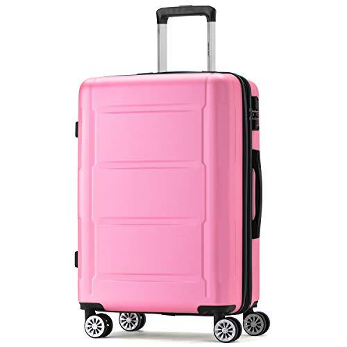 Merax Handgep?ck Expandierbares Hartschalen-Reisekofferset mit TSA Schlo?, Teleskopgriff und 4 R?dern, Trolley Rollkoffer,Reisekoffer Koffer (Pink,M-52cm)