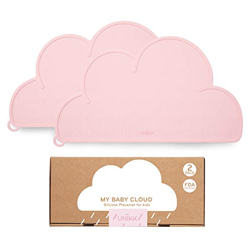UNIKK - Cloud Silicone Baby Placemat - Baby Table Mat. Food Grade, BPA Free, Non-Slip and Safe for Toddlers (Pink, 2 Pack)