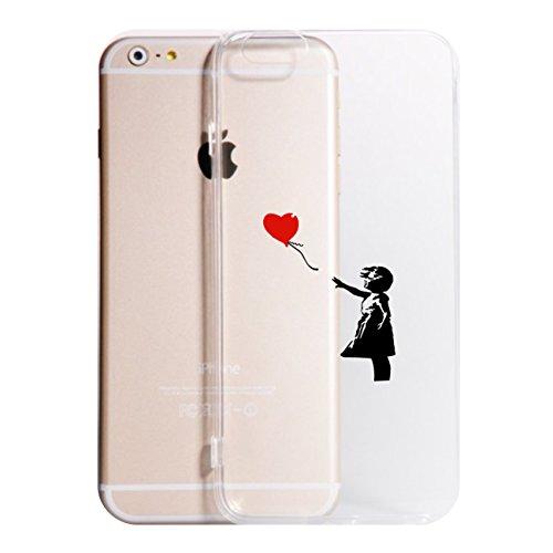 Vestin Cover Compatibile per Tutti i Modelli iPhone -Bansky- Trasparente UltraSottili AntiGraffio Antiurto Case Custodia (iPhone 8, Trasparente)