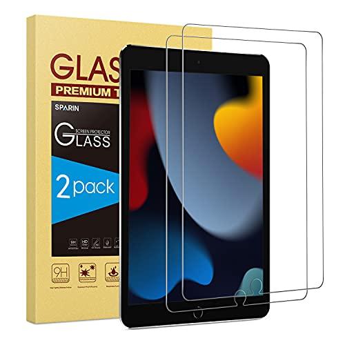 SPARIN 2 Piezas Protector de Pantalla Compatible con iPad 9 Generación 2021 Modelo, Cristal Templado Compatible con iPad 10,2 Pulgadas 2021