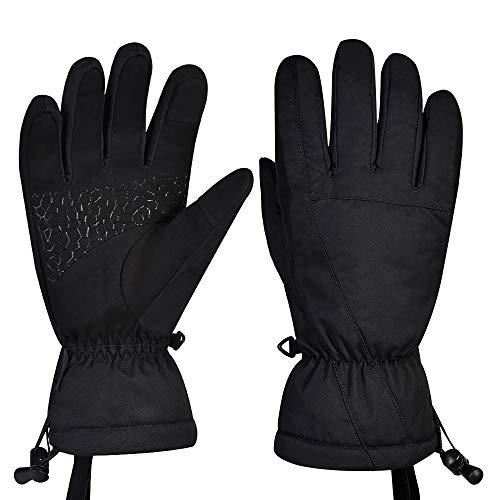 Fitfirst Wasserdichte Skihandschuhe Herren Damen Winterhandschuhe, Warme Touchscreen Handschuhe Fahrradhandschuhe Sporthandschuhe Laufhandschuhe Gloves Vollfinger für Ski, Laufen, Radfahren(Schwarz-M)