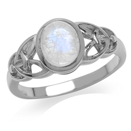 Silvershake Natural Moonstone White Gold Plated 925 Sterling Silver Celtic Knot Ring Size 9