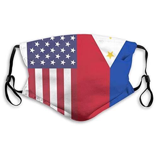 Cloth Face Mask Washable American Philippines Flag Anti Filter Dust Fabric Mouth Mask Reusable Printed