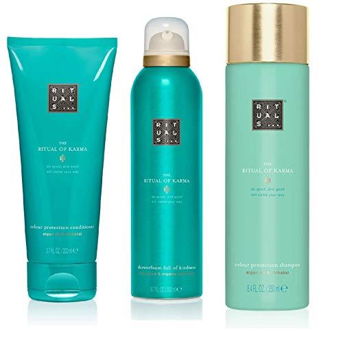 RITUALS KARMA Shampoo 250ml + Duschgel 200ml + Conditioner 200ml, 3er Set, inkl Filabe Pflegetücher, weitere Shampoo als Auswahl auf dieser Seite