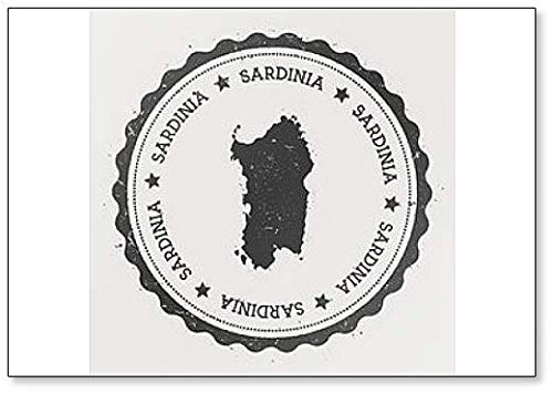 Sardinië. Hipster Ronde Rubber Stempel met Island Map Koelkast Magneet