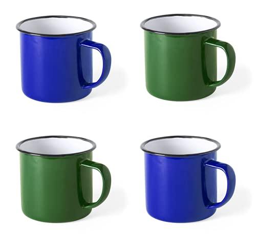 Set 4 Tazas metálicas Vintage - Retro - presentada en Caja Individual - capacidad 380ml (Verde x2, Azul x2)