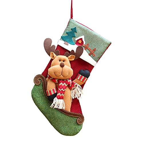 ODOORACT Calcetines de Navidad, calcetines de chimenea para Navidad, calcetines de Papá Noel, para rellenar, calcetines de Navidad para textiles navideños (17,72 x 7,87 pulgadas)