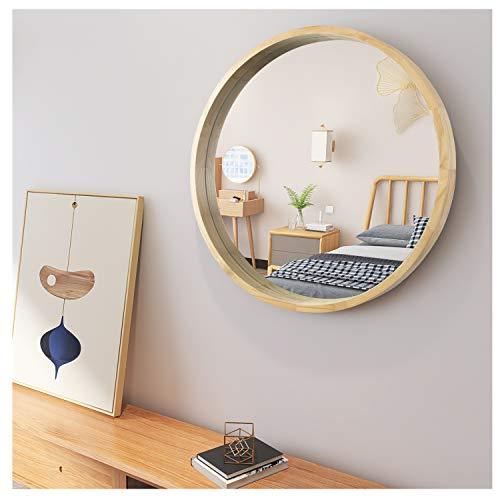 AUFHELLEN Rund Spiegel mit Rahmen aus Holz Groß Wandspiegel aus Glas in Oak 50.8cm Schminkspiegel für Bad-, Schlaf-, Ankleide- und Wohnzimmer
